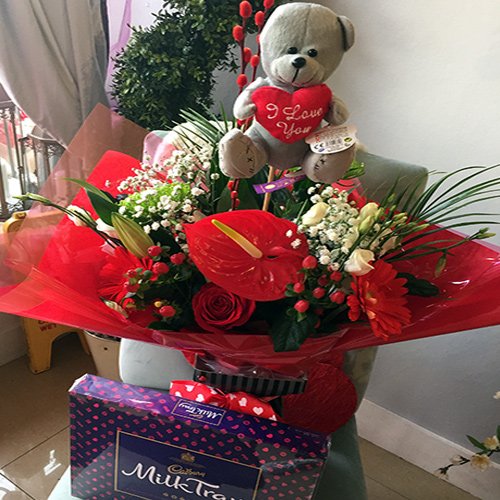 Bouquet with Teddy and Chocolates